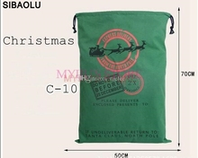 10pcs Christmas Large Canvas Bags 11styles for choose Santa Claus Drawstring Bags With Reindeers cotton Christmas Gift Sack Bags