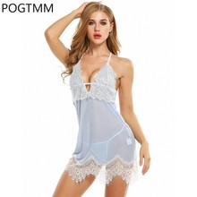 Buy Sexy Hot Erotic Lingerie Dress Babydoll Lace Backless Sleepwear Nightwear G-String Cotton Mini Night Dress Female Clothes Y