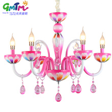 2017 HOT SALE contemporary chandelier living room ceiling chandeliers, Pink candle Chandeliers for the bedroom girls