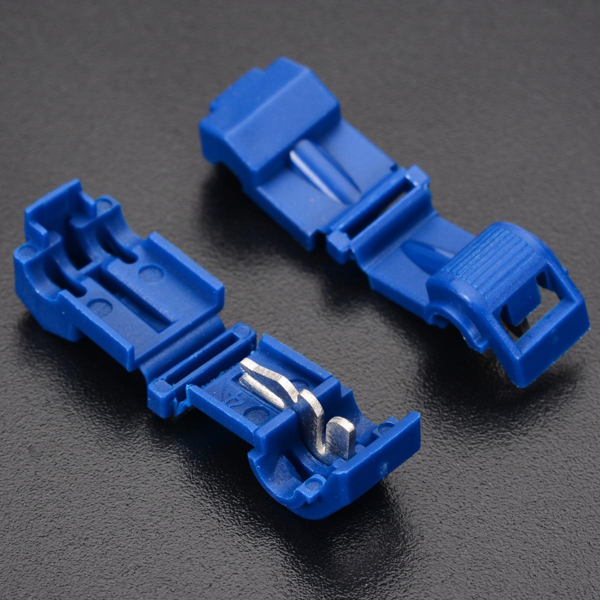 40pcs/lot T-Taps & Male Insulated Wire Cable Connector Terminals Mini Blue Quick Splice Scotch Lock Terminal Crimp