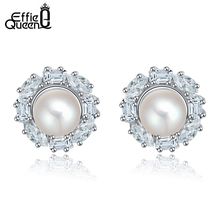 Effie Queen Sweet Style Big Simulated  Pearl Earrings with Paved Austrian Zircon Earrings of Birthday Gift for Girls DDE08