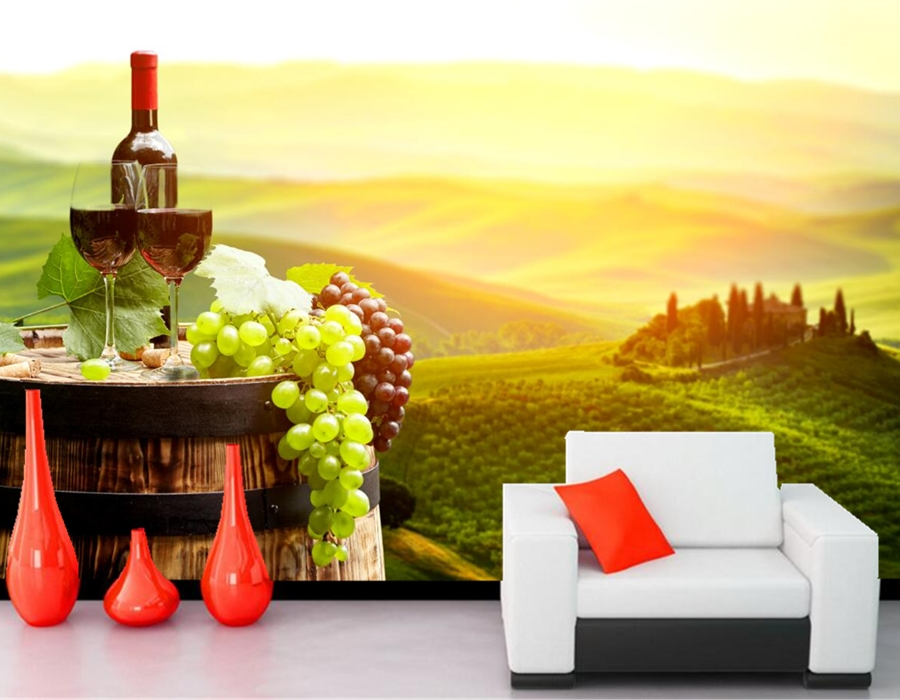 Custom 3D murals,Wine Grapes Barrel Food wallpaper,cafe wall bar restaurant kitchen dining room TV wall background 3d wallpaper<br>