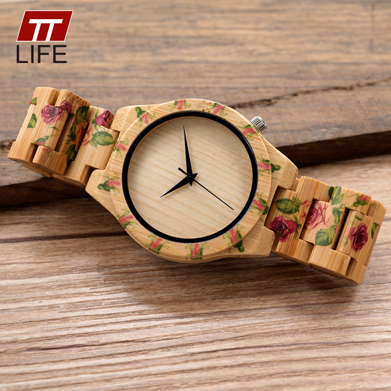 TTLIFE Mens Flower Printed Designer UV Print Flower Wooden Watches Men Women Quartz Wrist Watch in Gift Box reloj madera hombre<br>