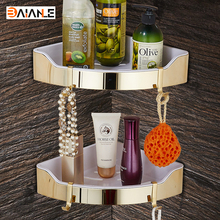 Gold Stainless Steel + ABS Plastic Bathroom Shelves Brushed Nickel Wall Mount triangle Shower Caddy Rack Bath Accessories(China)