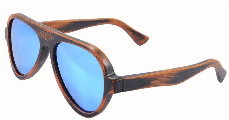 summer style New arrival season men women sunglasses free shipping bamboo stain frame sky  blue mirror lens Oculos De Sol 6068bb<br><br>Aliexpress