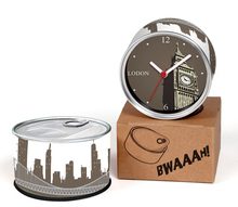 Free Shipping To London 2pcs/lot Packed UK England City Kitchen Fridge Magnets Aluminum Can Wall Clocks,Metal Tin Desk Clocks