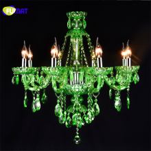 FUMAT Crystal Candle Chandelier LED Green Crystal Suspension Lamp Cafe Bar Restaurant Hall Diffuse Light Fixtures Living Room