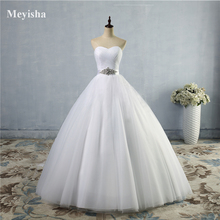 Wedding-Dress Bridal Lace Sweetheart Off-The-Shoulder White Sleeveless New A-Line ZJ9056