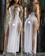 Sexy gauze lace Babydoll white Lingerie Underwear longdress transparente+hot pant  Translucent  seksi Temptation adult  6298
