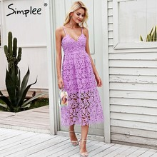 9e713006f5 Simplee Strap vintage white lace dress women Overlay v neck summer dress  2018 High waist sexy