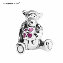 Pandulaso Pink Enamel Flower Tigger Beads for Jewelry Making Fit Original Silver Bracelets & Bangles Brand Logo Bead DIY Jewelry