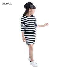 Girls Dress Spring 2018 Long Sleeve Stripe Girls Cotton Dresses Teenage Kids Dresses for Girls vestidos Infantis Girls Clothes(China)
