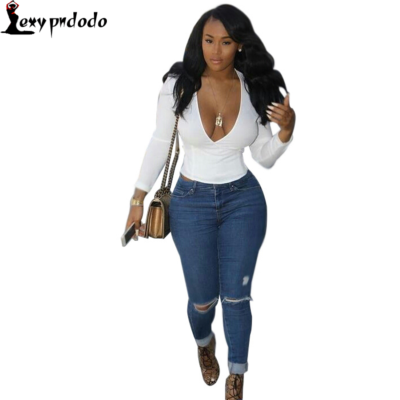 Womens Hole Jeans With High Waist 2017 Autumn Fashion  Hole Jeans Denim Pants 2 Piece sets long v-neck Sexy Woman JeansОдежда и ак�е��уары<br><br><br>Aliexpress