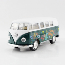 VW 1962 Type2 T1 Bus Love&Peace Green 1/32 alloy model car Diecast Metal Pull Back Car Toy For Gift Collection