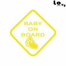 Baby On Board Warning Sign Vinyl Car Sticker / Baby Feet Car Decal