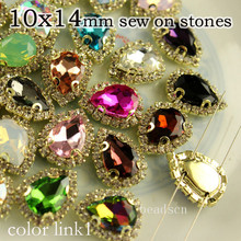 15pcs 10x14mm teardrop sewing on fancy faceted stones with rhinestone chain gold metal cup crystal diy dress bags shoes(China)