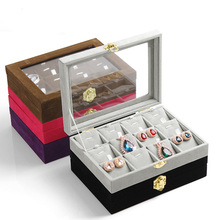Fashion Jewelry Display Tray Pendant Storage Boxes Travel Case Velvet Organizer with Cover(China)