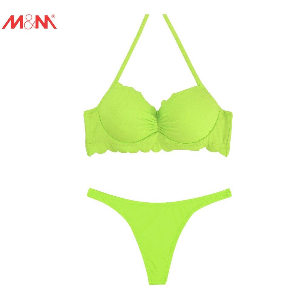 M&amp;M Women Sexy Bikini Set Low Waist Chiffons Swimwear Tongs Bottom and Push Up Sport Tops Swimsuit Bathing Suit Halter Bikini<br><br>Aliexpress