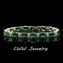 CWWZircons Fashion CZ Women Jewelry Silver-Color Created Emerald Green Cubic Zirconia Crystal Charm Bracelets Bangles CB061