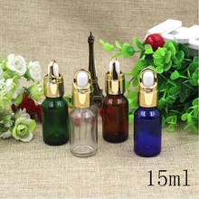 Free Shipping Top Grade 15ml Empty Glass Dropper Bottles Gold lid New Style Parfume Essential Oil liquid Packaging Containers