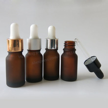 NEW 200 X 10ml frost Amber Glass Dropper Bottle Jars Vials With Pipette For Cosmetic Perfume Essential Oil Bottles E liquid