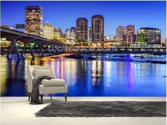 Custom modern wallpaper,skyline on the James River,3D photo landscape for living room bedroom kitchen wall vinyl wallpaper<br>