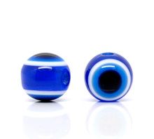 "Free Shipping 100/lot Royal Blue Acrylic Kabbalah Evil Eye Ball Round Beads 8mm (0.31"") Pick Size For Jewelry Making"
