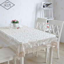 2017 Newest Square Organza Lace Banquet Decoration Embroidered Wedding Tablecloth
