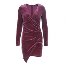 Buy 2017 Velvet Soft Deep V Neck Dress Vintage Autumn Winter Elastic Sexy Dress Women Long Sleeve Party Dresses for $27.00 in AliExpress store