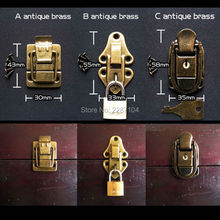 Antique Brass Vintage Jewelry Chest Wooden Box Suitcase Case furniture Leather Bag Trunk Hasp Latch Toggle Buckles Lock Clasp