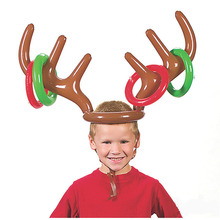 50pcs 2016 Christmas Toys Children Kids Inflatable Santa Funny Reindeer Antler Hat Ring Toss  Party Game Supplies Toy ZA1158