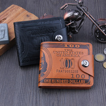Men Wallets Soft Pu Leather Hasp Designer Money Clip with Coin Pocket Purse 2017 New Gift Card Hold Clip Bag Black Dollar Color