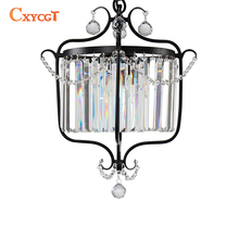 American Black Crystal Pendant lights for Kitchen Dining Room Cabinet Vintage Hanging Lamp(China)