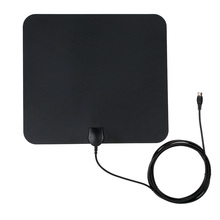 Flat HD TV Digital Indoor Antenna HDTV High Gain 35 Miles Range ATSC DVB ISDB with 10ft High Performance Coax Cable(China)
