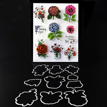 flower frame stamp dies Clear rubber stamp and flower metal cutting dies set craft stamp with dies for scrapbook card making(China)