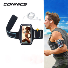 CONNICS 7 Plus Running Arm Band Leather Case For Apple iphone X 6 6S 8 Plus 4S 5S Anti-sweat Outdoor Sport Hand Bag GYM Cover(China)