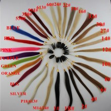 100% Human hair COLOR RING / COLOR CHART/ for hair extensions 25 different colors with ombre color Mix color(China)