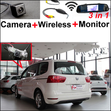 3in1 Wireless Receiver + Special Backup WiFi Camera + Mirror Monitor Parking Rear View System For SEAT ALHAMBRA 7N 2010~2014