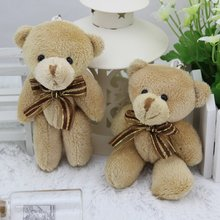 free shipping 12pcs/lot 12CM brown mini joint teddy bear,brown bear toy bouquet material/wedding gift,kawaii small bear(China)