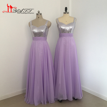 Liyatt Sparkly A-Line Lavender Bridesmaid Dresses 2017 Sleeveless Long Chiffon Wedding Party Gowns Custom Made Plus Size MN057
