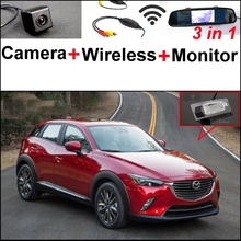 3 in1 Special Rear View Camera + Wireless Receiver + Mirror Monitor DIY Backup Parking System For Mazda CX-3 CX 3 CX3 2014~2015