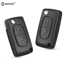 KEYYOU 2 Tasten Flip Folding Key Case Blank Shell Für Peugeot 107 207 307 307 S 308 407 607 2BT(China)