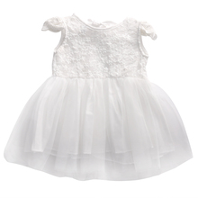 Infant Baby Girl Princess Lace Dress Toddler Kids Sleeveless White Tulle Wedding Fancy Party Tutu Dress Age 0-3Year(China)
