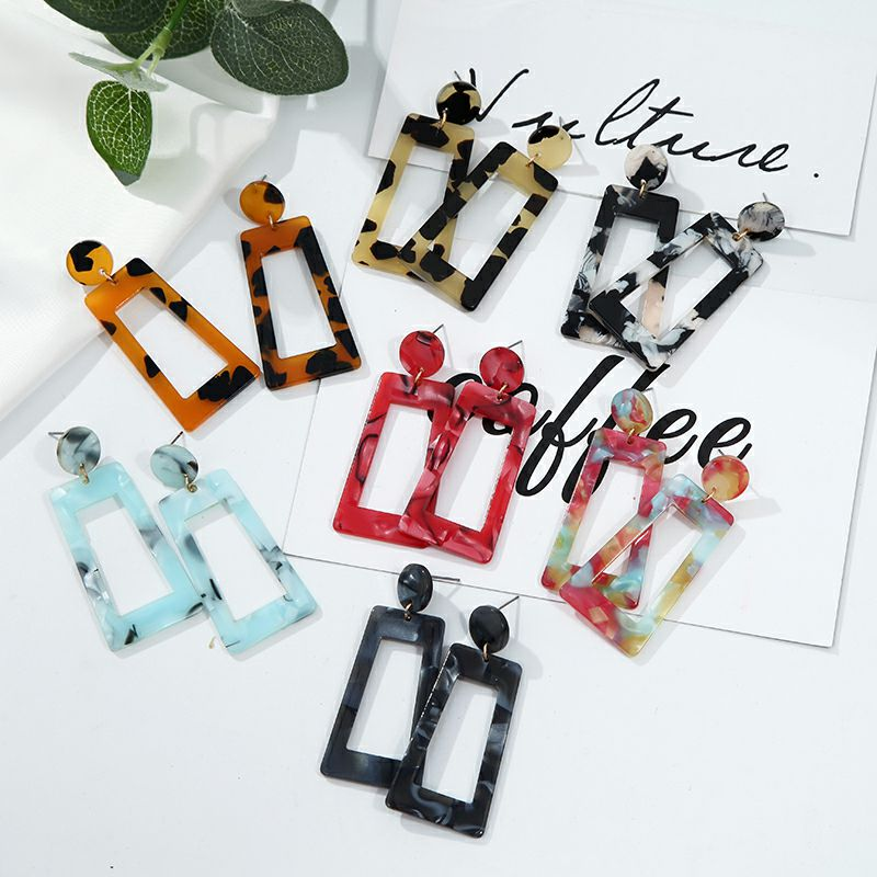 19 Acrylic earrings for women New fashion jewelry Tortoise Color Leopard Print acetate earring Geometric colorful 3