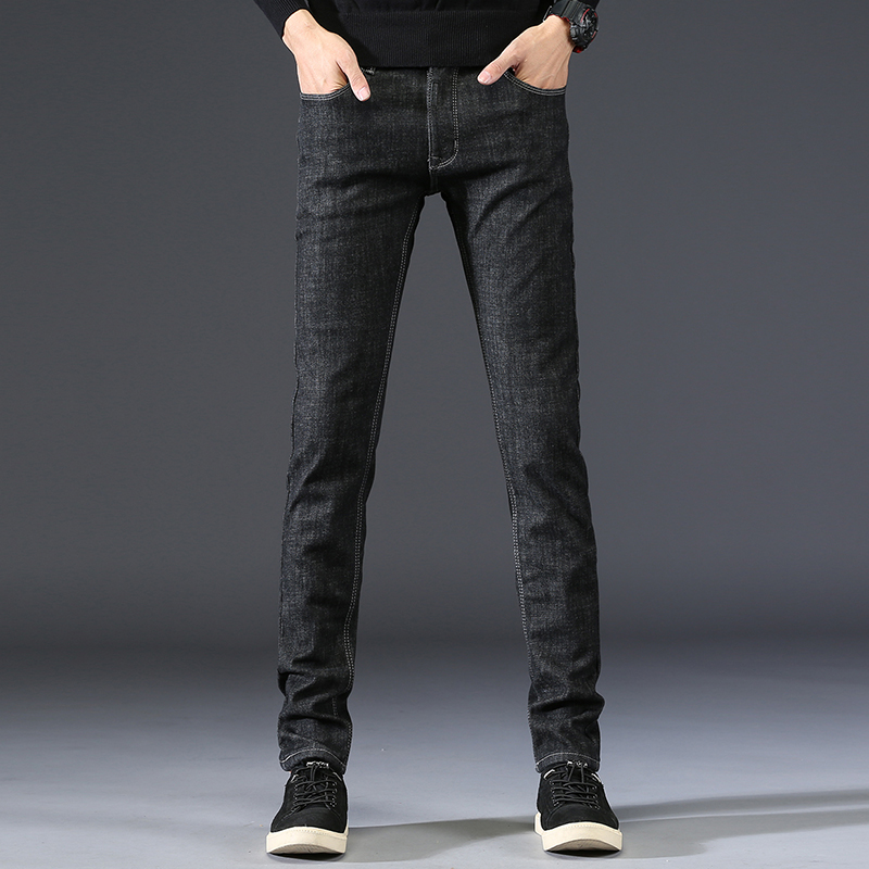 Men Denim Trousers Men's Solid Color Fashion New Brand Pants Male Black Plus Cashmere Slim Cotton Full Length Jeans Plus Size 36