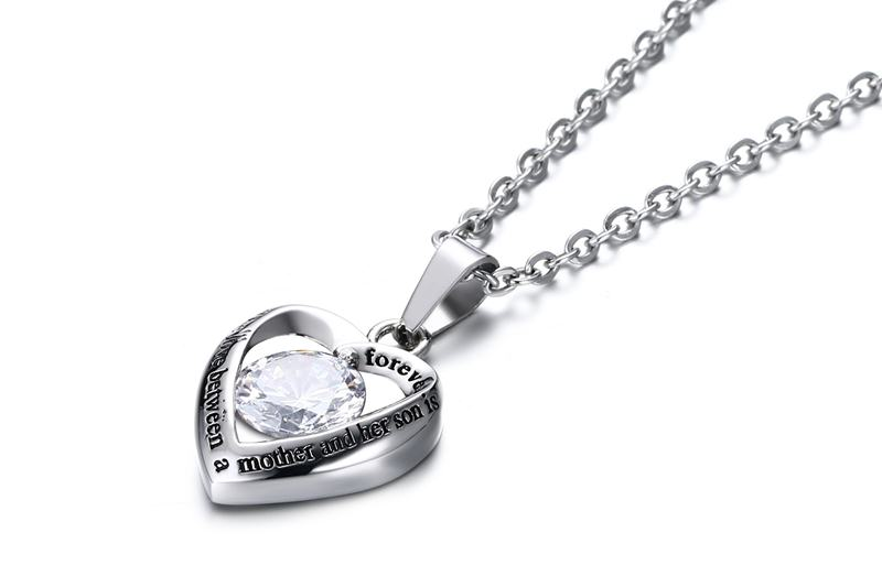 Meaeguet Women's Heart Pendant For Necklace With CZ High Polished Stainless Steel Love Forever For Her Son Jewelry (2)