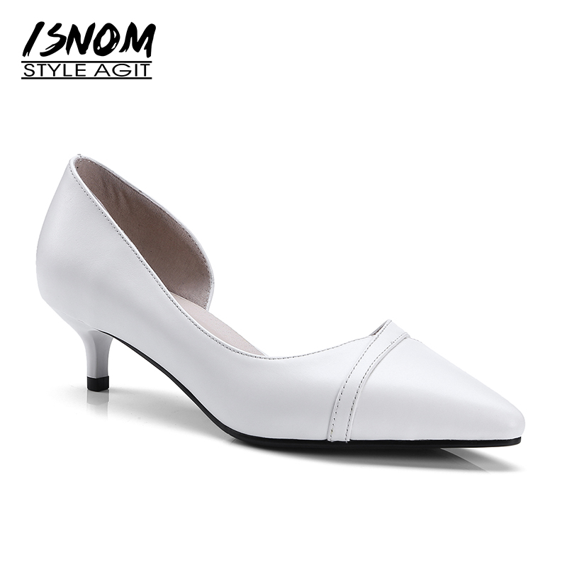 ISNOM Office Med Heels Women Pumps Pointed Toe Shallow Genuine Leather Thin Heels Footwear 2018 New Spring Fashion Ladies Shoes<br>