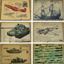 Vintage Posters P51 Mustang Fighter Tiger Tank Armored Vehicle Ancient Ship World War II Military Wall Stickers Home Decoration