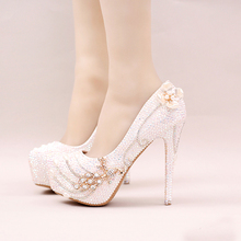 2016 Sparkling Rhinestone Bridal Shoes Stiletto Heel White Crystal Wedding Party Shoes Bling Bling Prom Pumps Cinderella Shoes