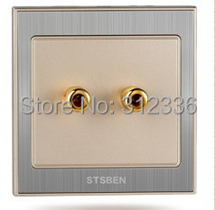 free shipping wall two holes SPEAKER SOCKET  champagne gold color<br><br>Aliexpress